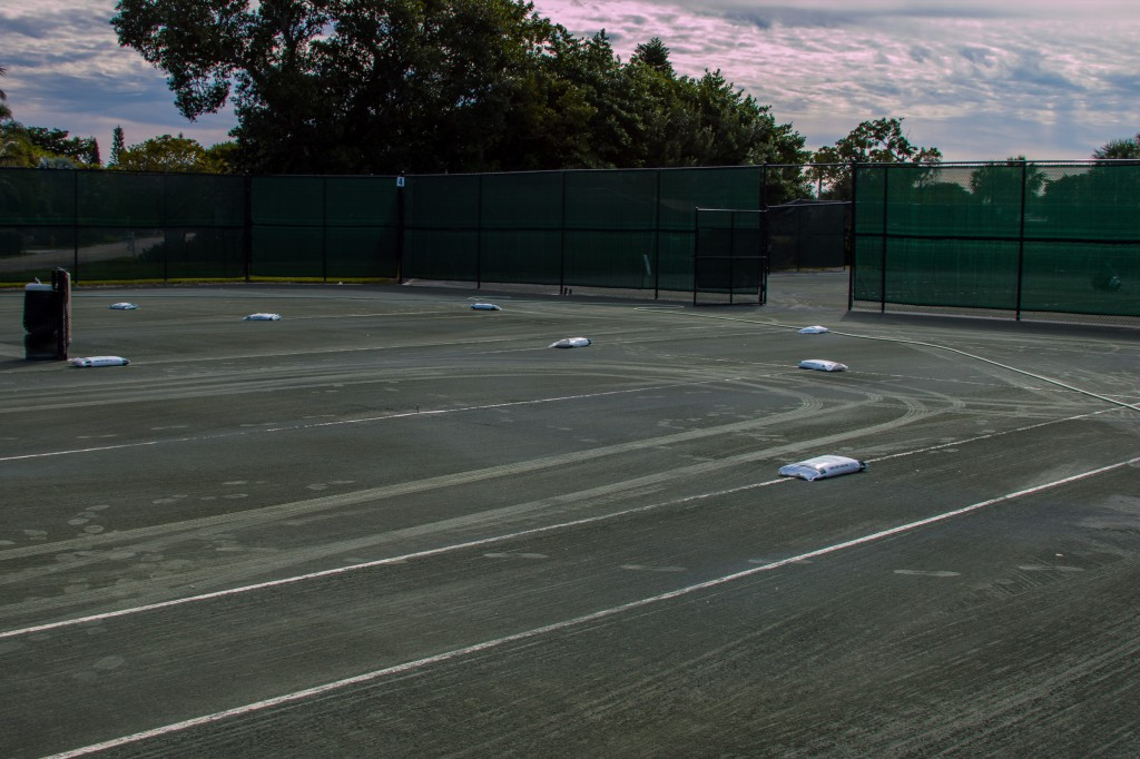 Court repair after high winds-5884